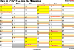 Vorlage 2: Kalender 2013 für Baden-Württemberg als Excel-Vorlage (Querformat, 2 Seiten)