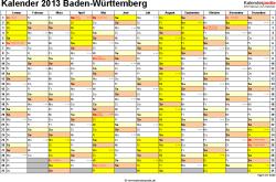 Vorlage 1: Kalender 2013 für Baden-Württemberg als Excel-Vorlage (Querformat, 1 Seite)