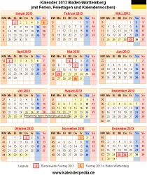 Kalender 2013 Baden-Württemberg