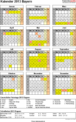 Vorlage 3: Kalender Bayern 2013 als Excel-Vorlage (Hochformat)