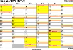 Vorlage 2: Kalender 2013 für Bayern als Word-Vorlage (Querformat, 2 Seiten)