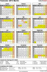 Vorlage 3: Kalender Berlin 2013 als Excel-Vorlage (Hochformat)