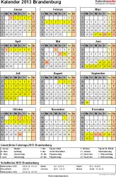 Vorlage 3: Kalender Brandenburg 2013 als Excel-Vorlage (Hochformat)