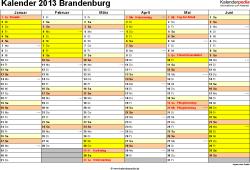 Vorlage 2: Kalender 2013 für Brandenburg als Excel-Vorlage (Querformat, 2 Seiten)
