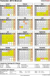 Vorlage 3: Kalender Bremen 2013 als Excel-Vorlage (Hochformat)