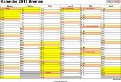 Vorlage 2: Kalender 2013 für Bremen als Word-Vorlage (Querformat, 2 Seiten)