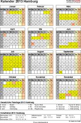 Vorlage 3: Kalender Hamburg 2013 als Excel-Vorlage (Hochformat)