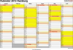 Vorlage 2: Kalender 2013 für Hamburg als Excel-Vorlagen (Querformat, 2 Seiten)