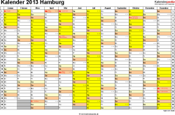 Vorlage 1: Kalender 2013 für Hamburg als Excel-Vorlagen (Querformat, 1 Seite)