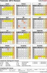 Vorlage 3: Kalender Hessen 2013 als PDF-Vorlage (Hochformat)