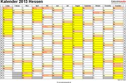 Vorlage 1: Kalender 2013 für Hessen als Word-Vorlage (Querformat, 1 Seite)