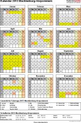 Vorlage 3: Kalender Mecklenburg-Vorpommern 2013 als Excel-Vorlage (Hochformat)