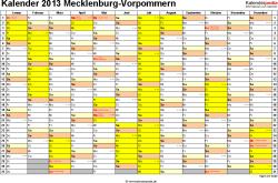Vorlage 1: Kalender 2013 für Mecklenburg-Vorpommern als Excel-Vorlagen (Querformat, 1 Seite)