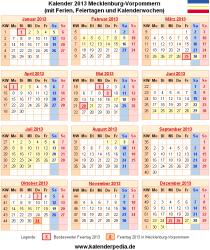 Kalender 2013 Mecklenburg-Vorpommern