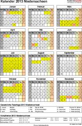 Vorlage 3: Kalender Niedersachsen 2013 als Excel-Vorlage (Hochformat)