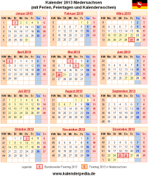Kalender 2013 Niedersachsen