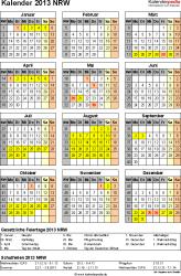 Vorlage 3: Kalender NRW 2013 als PDF-Vorlage (Hochformat)