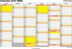 Vorlage 2: Kalender 2013 für NRW als PDF-Vorlagen (Querformat, 2 Seiten)