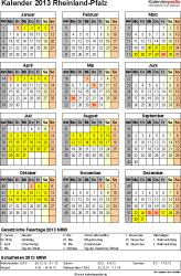 Vorlage 3: Kalender Rheinland-Pfalz 2013 als Word-Vorlage (Hochformat)