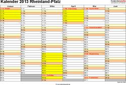 Vorlage 2: Kalender 2013 für Rheinland-Pfalz als Excel-Vorlage (Querformat, 2 Seiten)