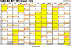 Vorlage 1: Kalender 2013 für Rheinland-Pfalz als Excel-Vorlage (Querformat, 1 Seite)