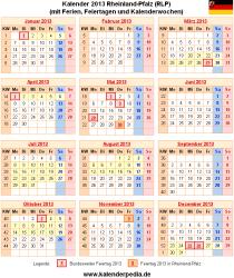 Kalender 2013 Rheinland-Pfalz