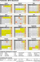 Vorlage 3: Kalender Saarland 2013 als Excel-Vorlage (Hochformat)