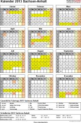 Vorlage 3: Kalender Sachsen-Anhalt 2013 als Excel-Vorlage (Hochformat)