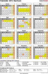 Vorlage 3: Kalender Sachsen 2013 als Excel-Vorlage (Hochformat)