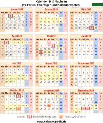 Kalender 2013 Sachsen