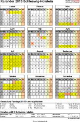 Vorlage 3: Kalender Schleswig-Holstein 2013 als Excel-Vorlage (Hochformat)