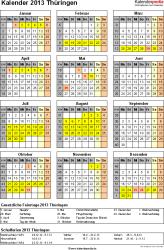 Vorlage 3: Kalender Thüringen 2013 als Excel-Vorlage (Hochformat)