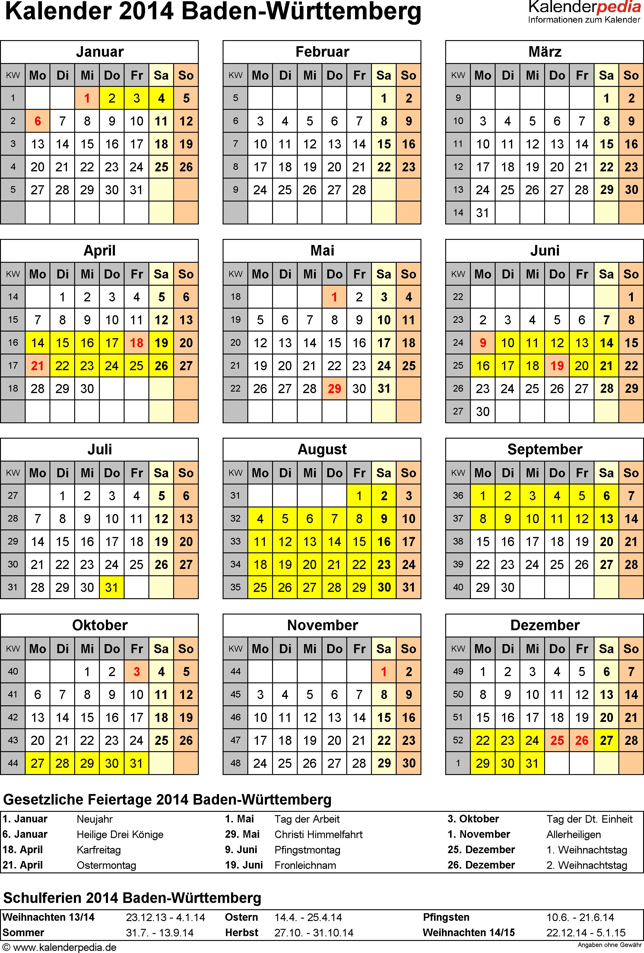 Vorlage 4: Kalender Baden-Württemberg 2014 als Excel-Vorlage (Hochformat)