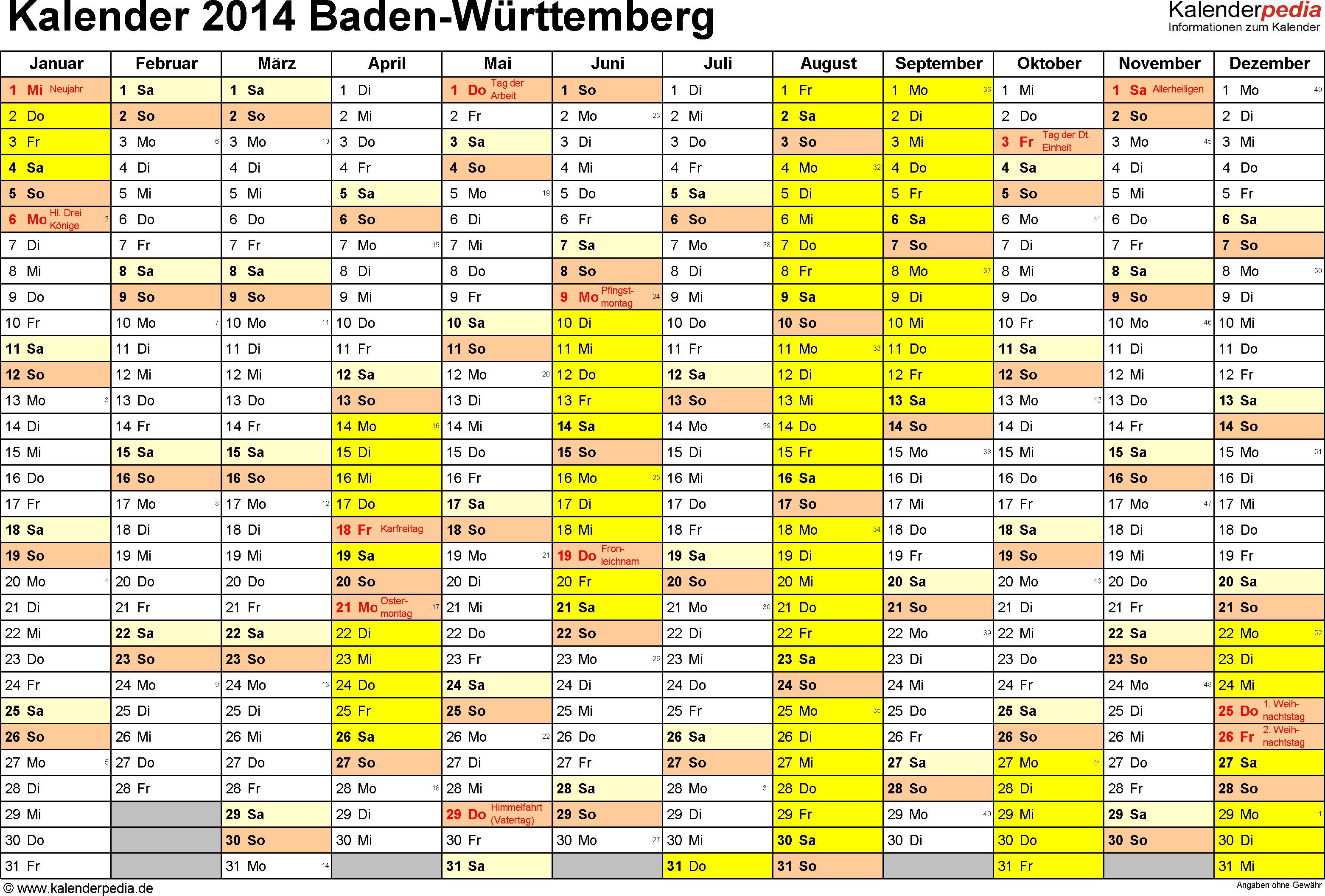 Vorlage 1: Kalender 2014 für Baden-Württemberg als PDF-Vorlage (Querformat, 1 Seite)