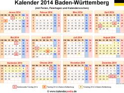 Kalender 2014 Baden-Württemberg