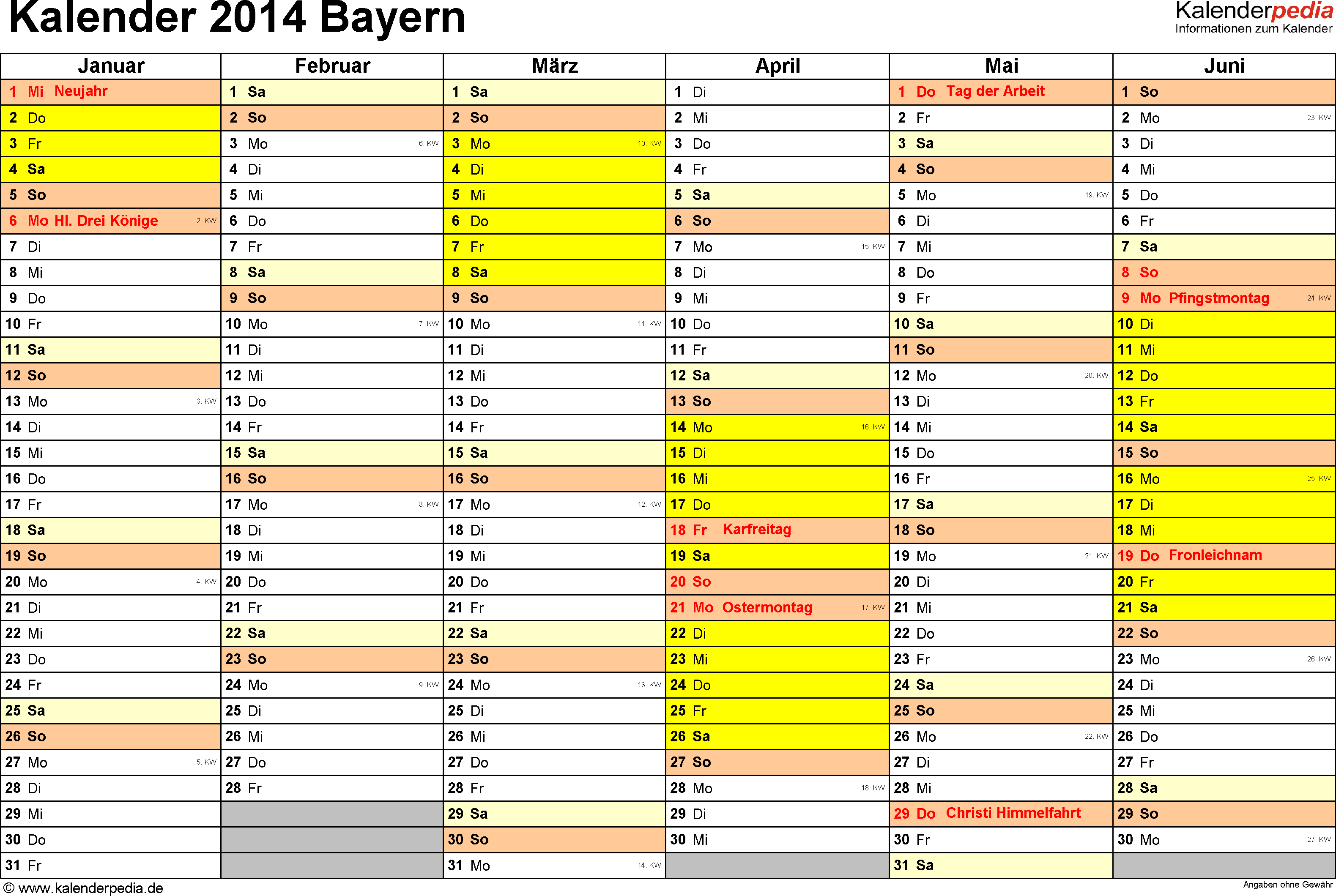 Vorlage 2: Kalender 2014 für Bayern als Excel-Vorlage (Querformat, 2 Seiten)