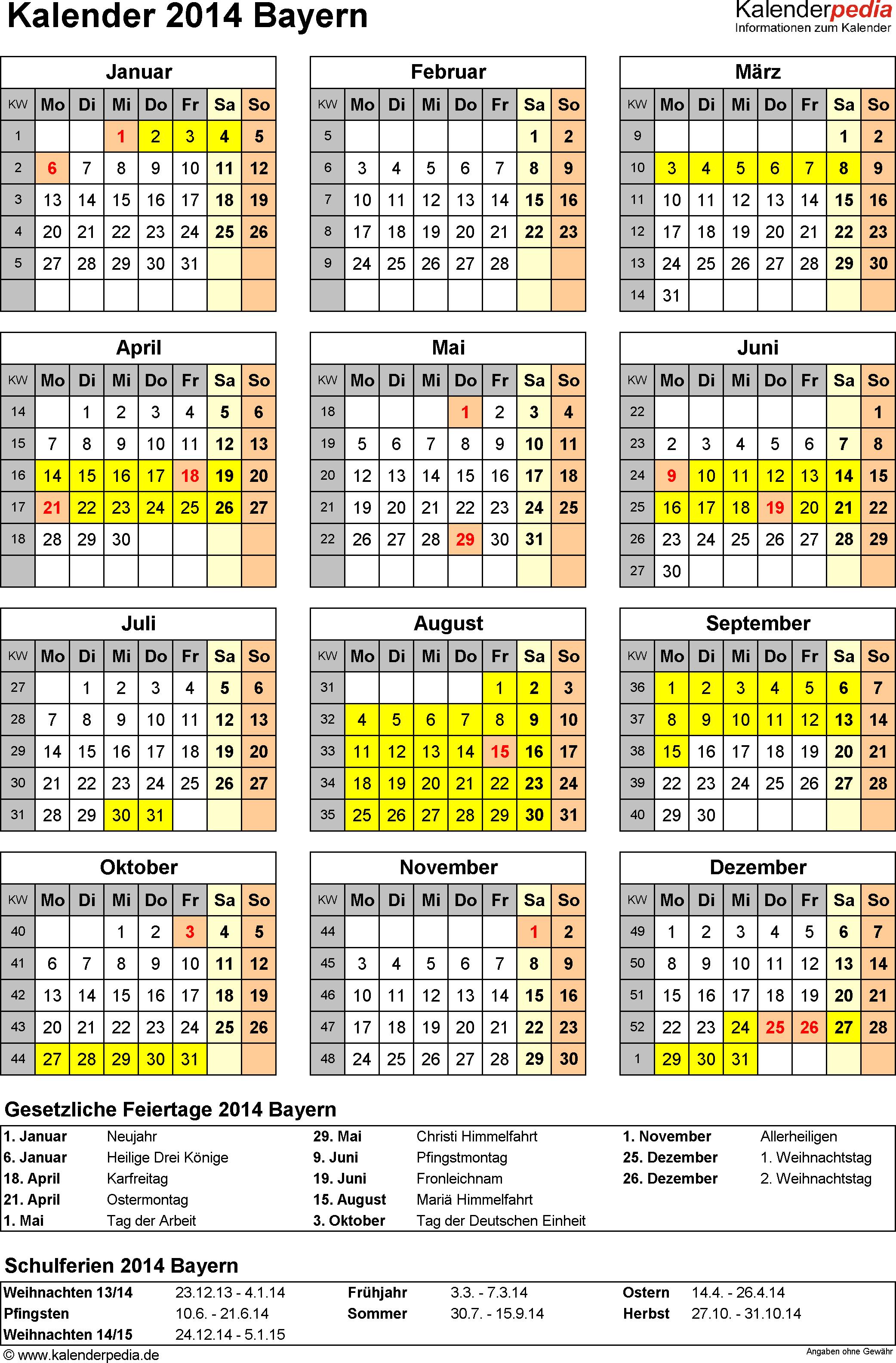 Vorlage 4: Kalender Bayern 2014 als Excel-Vorlage (Hochformat)