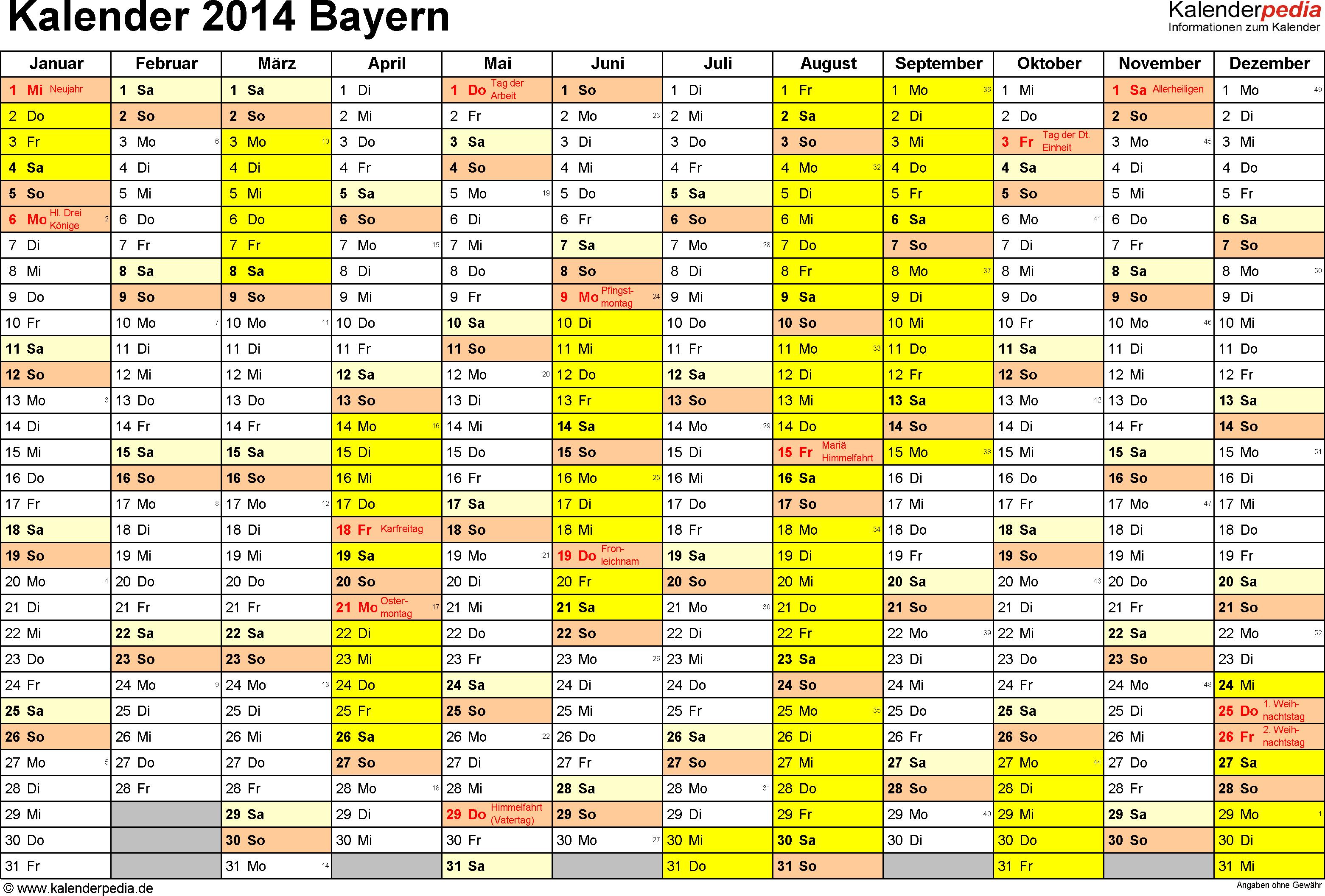 Vorlage 1: Kalender 2014 für Bayern als Excel-Vorlage (Querformat, 1 Seite)