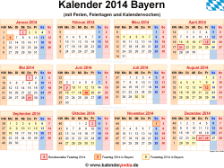 Kalender 2014 Bayern
