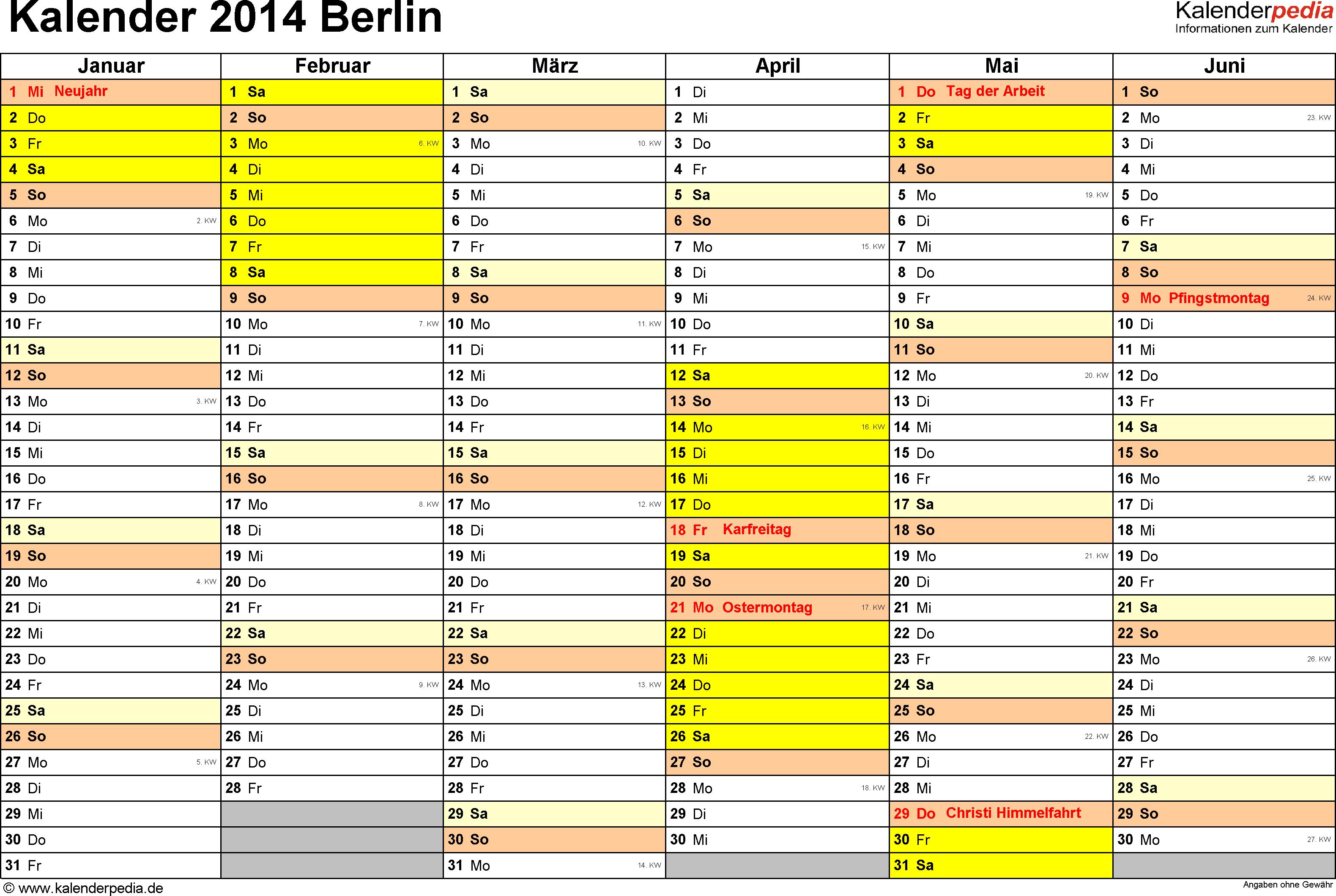 Vorlage 2: Kalender 2014 für Berlin als Excel-Vorlage (Querformat, 2 Seiten)
