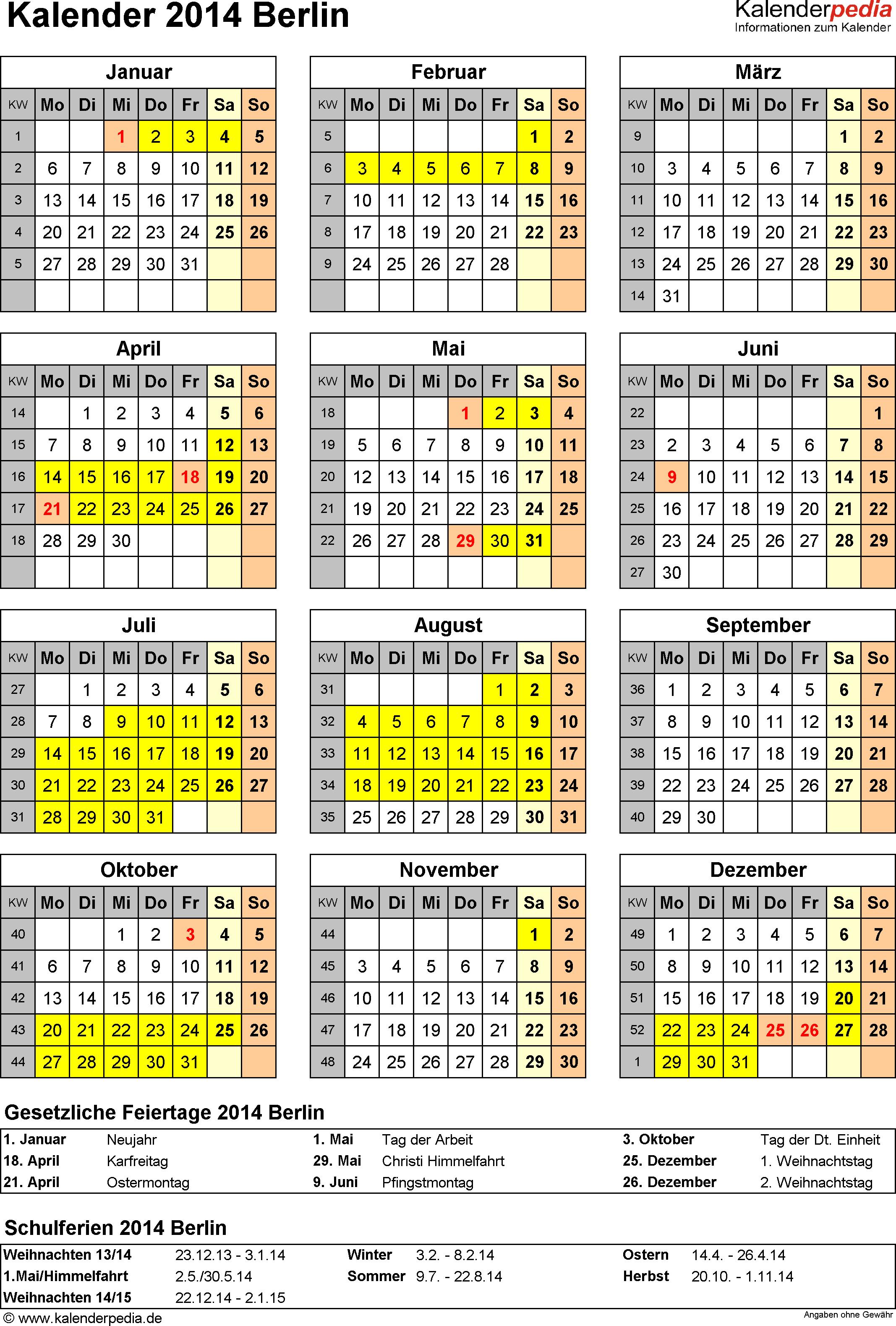 Vorlage 4: Kalender Berlin 2014 als Excel-Vorlage (Hochformat)