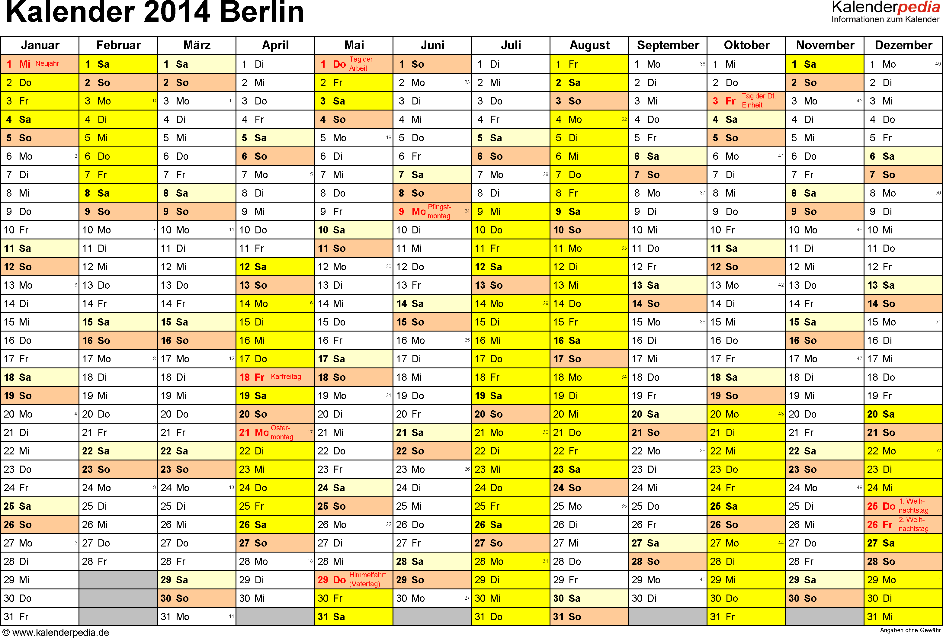 Vorlage 1: Kalender 2014 für Berlin als Excel-Vorlagen (Querformat, 1 Seite)