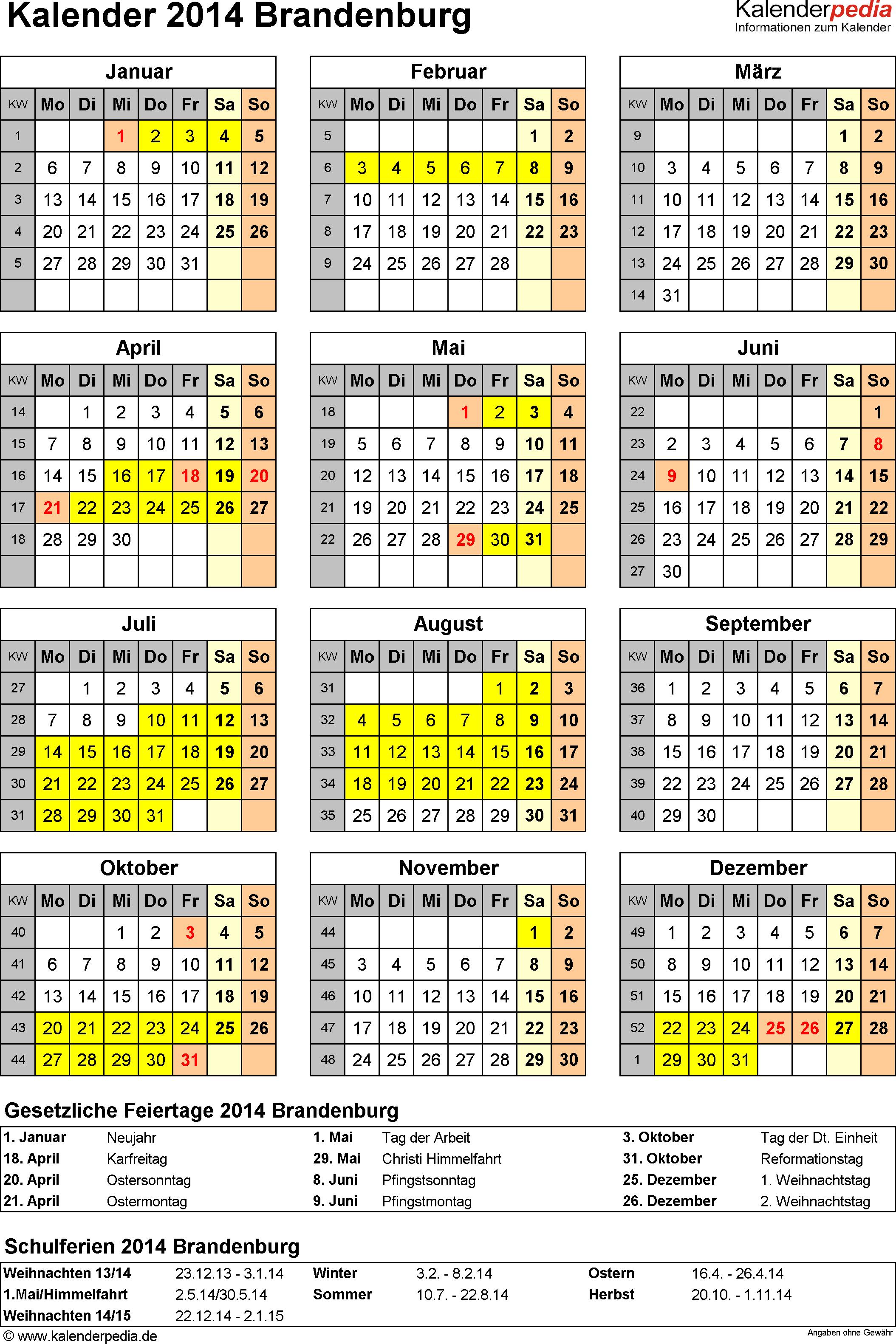 Vorlage 4: Kalender Brandenburg 2014 als Excel-Vorlage (Hochformat)