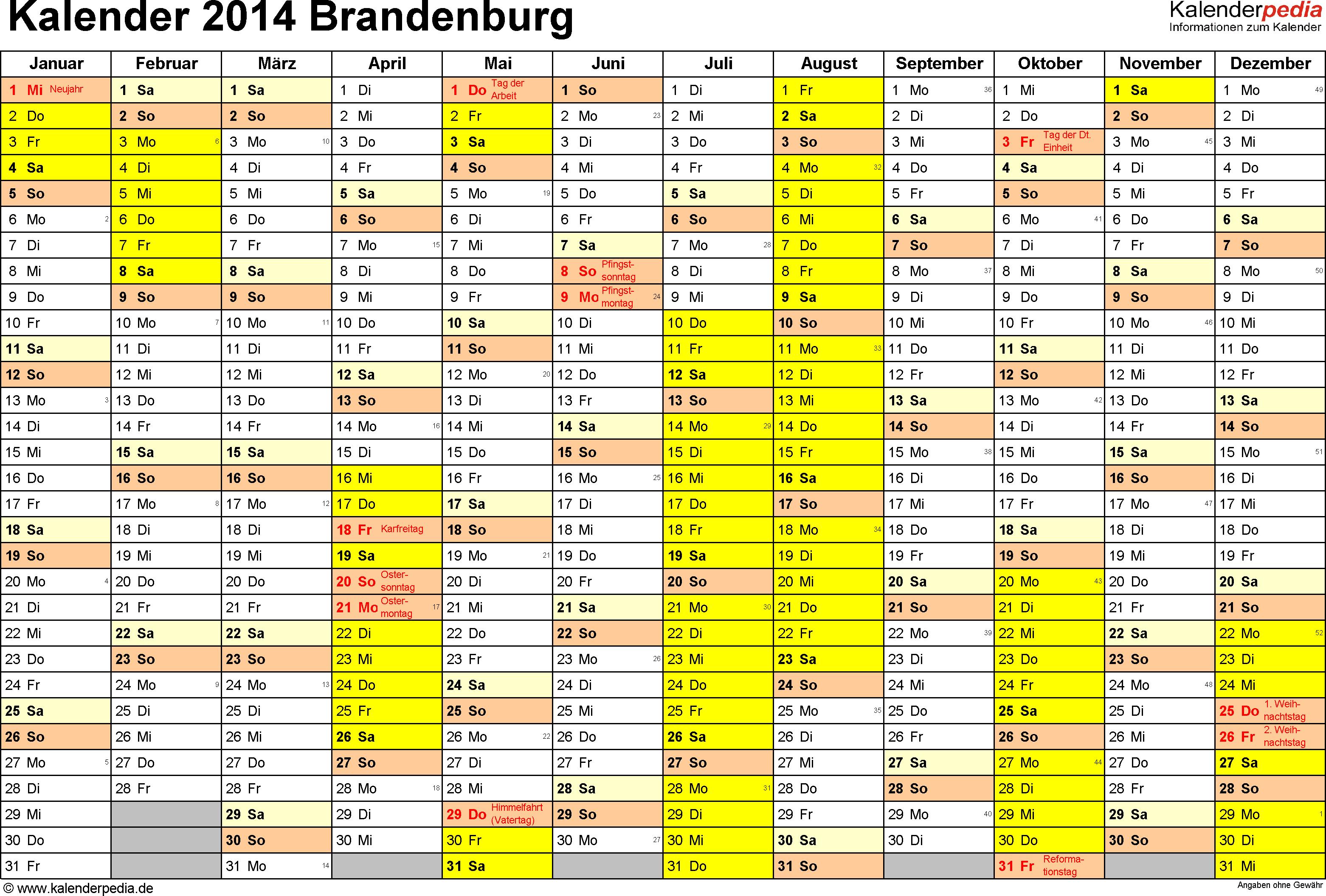 Vorlage 1: Kalender 2014 für Brandenburg als Excel-Vorlagen (Querformat, 1 Seite)