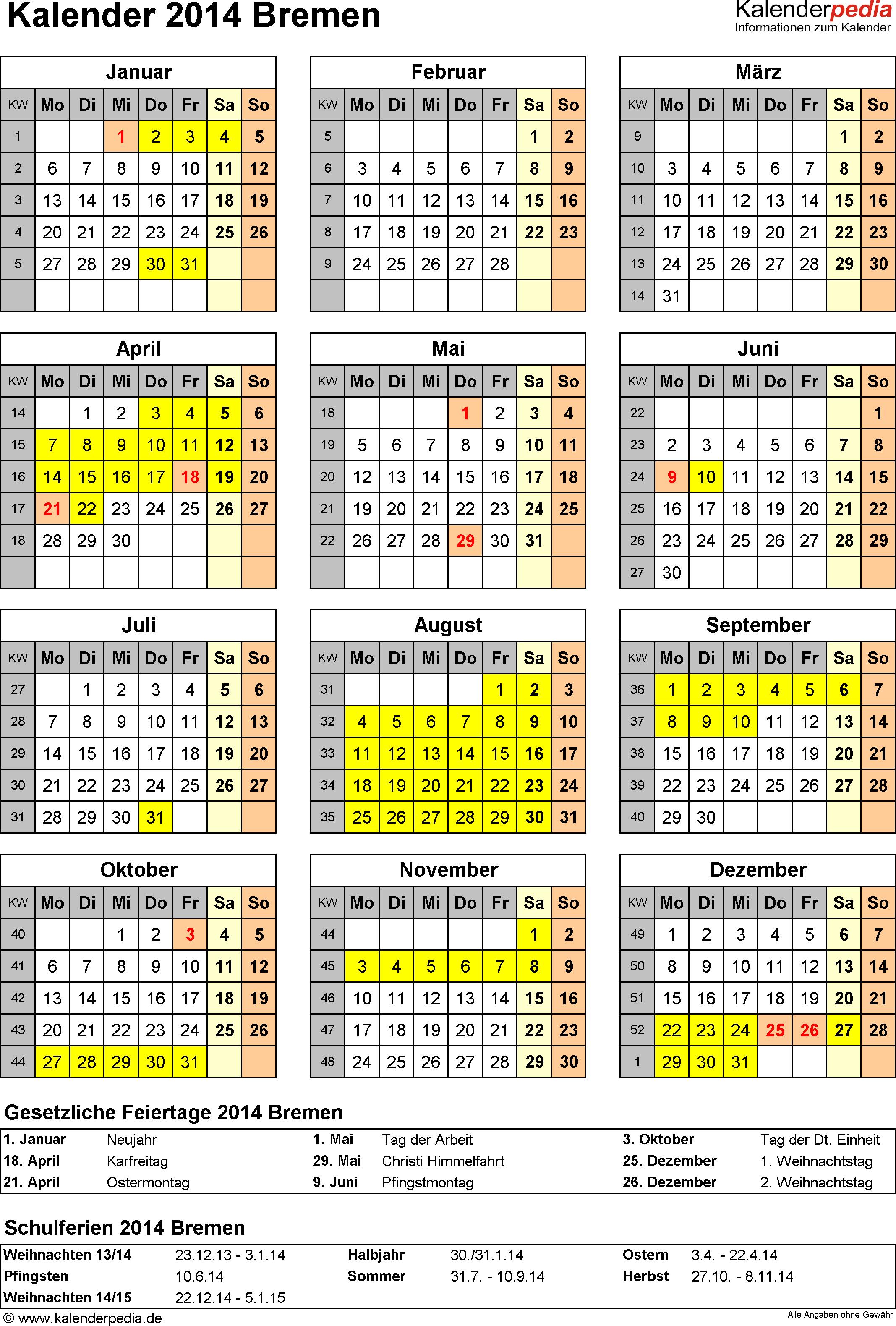 Vorlage 4: Kalender Bremen 2014 als Excel-Vorlage (Hochformat)