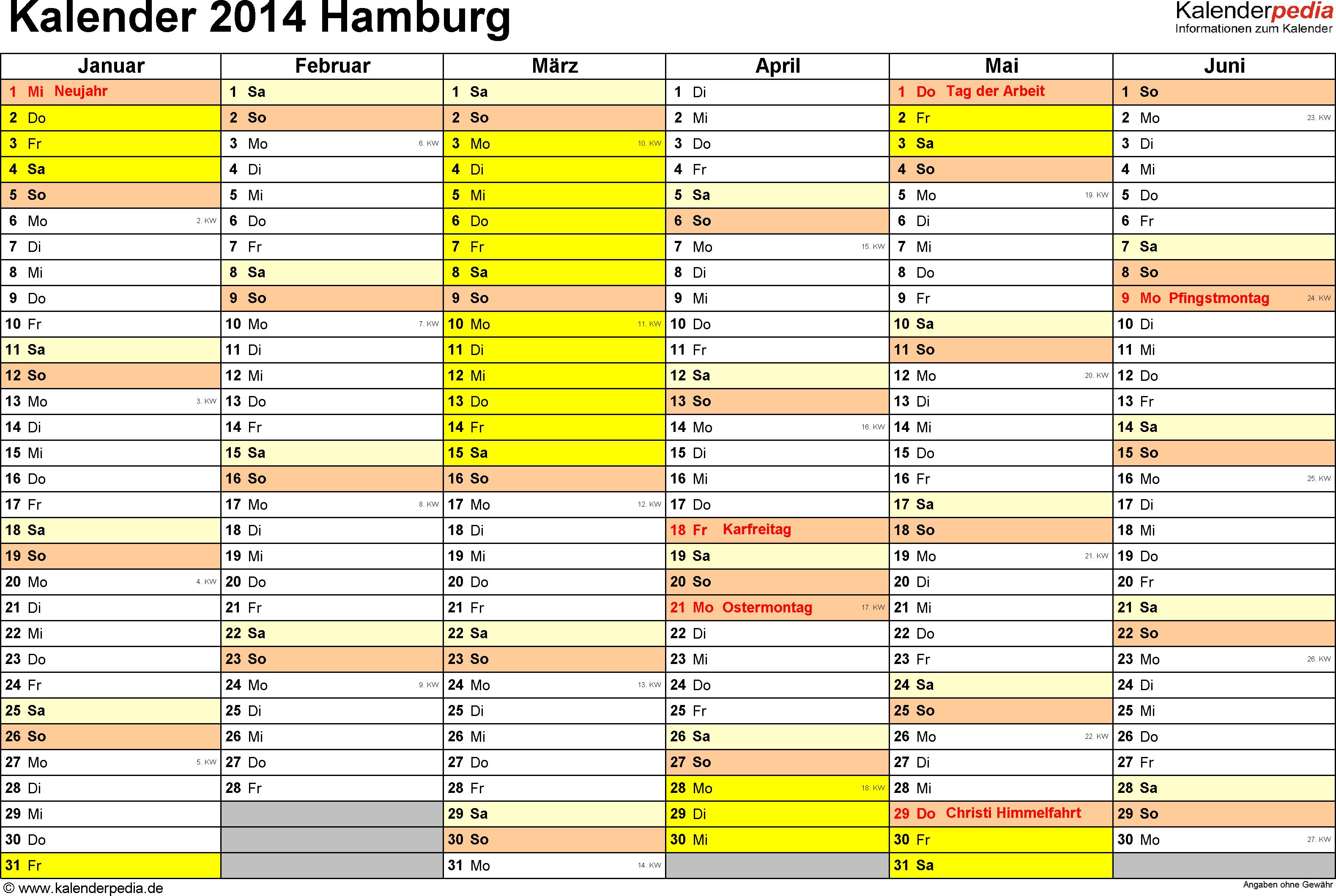 Vorlage 2: Kalender 2014 für Hamburg als Word-Vorlage (Querformat, 2 Seiten)