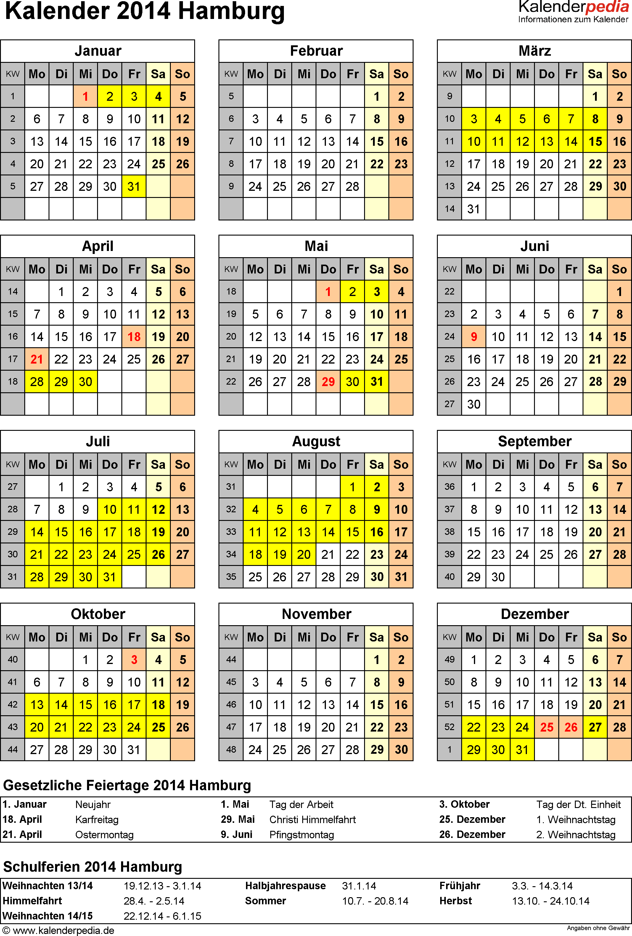 Vorlage 4: Kalender Hamburg 2014 als Word-Vorlage (Hochformat)