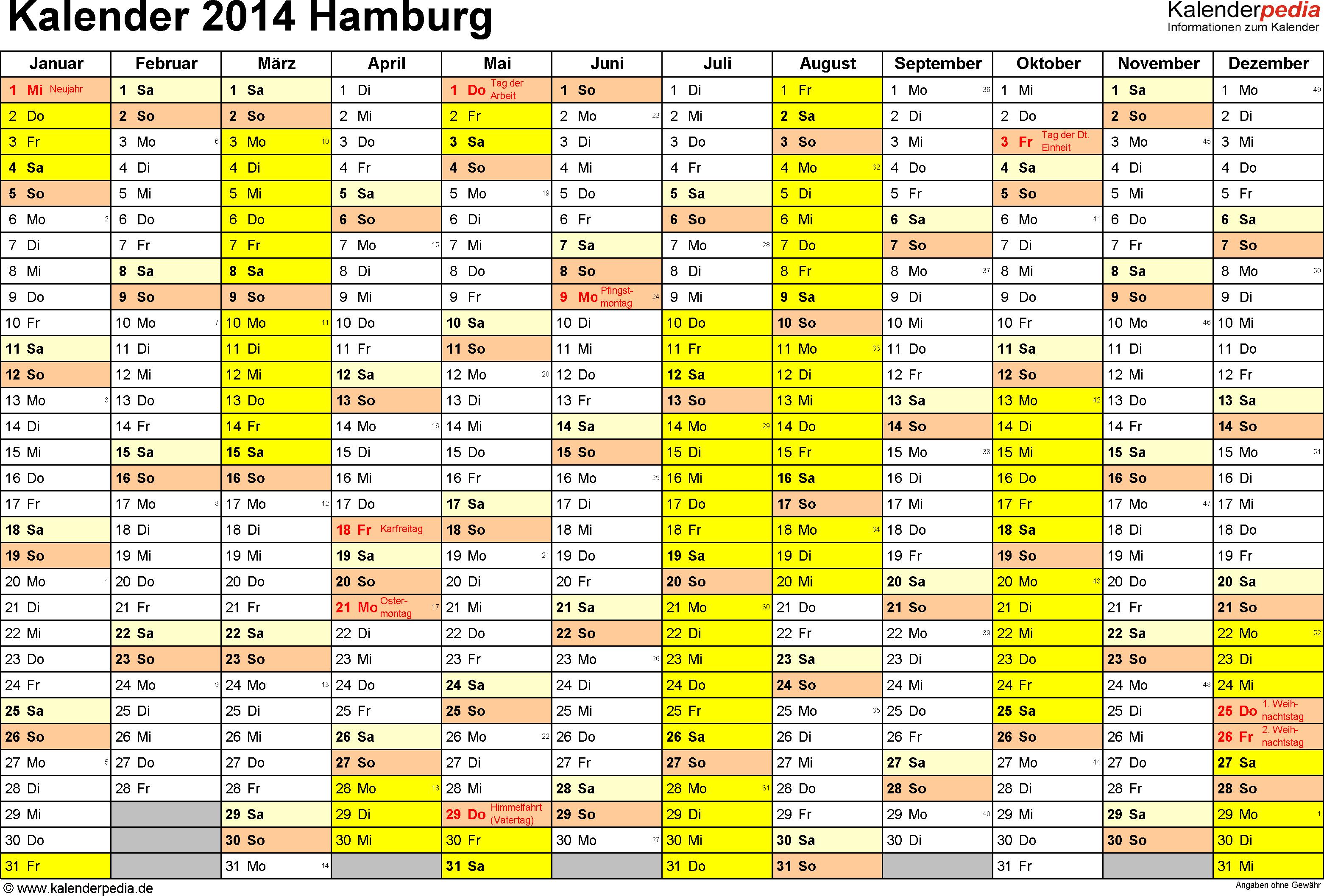 Vorlage 1: Kalender 2014 für Hamburg als Word-Vorlage (Querformat, 1 Seite)