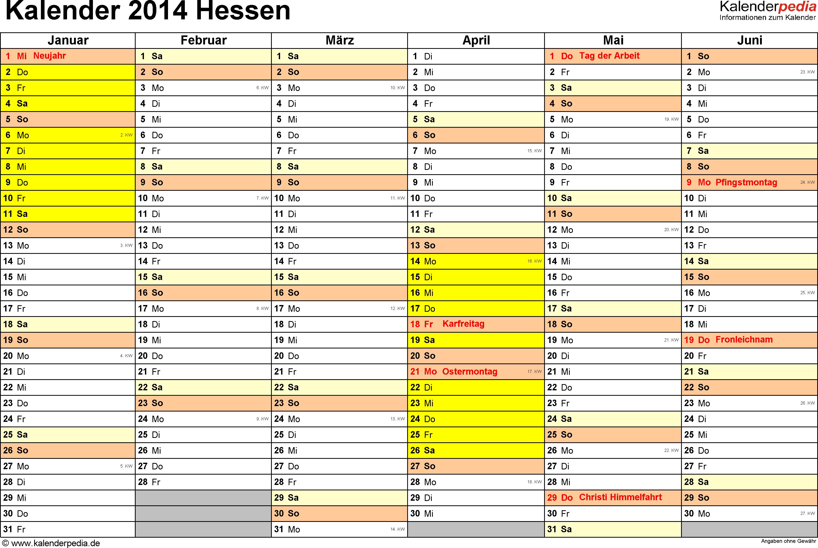 Vorlage 3: Kalender 2014 für Hessen als PDF-Vorlagen (Querformat, 2 Seiten)