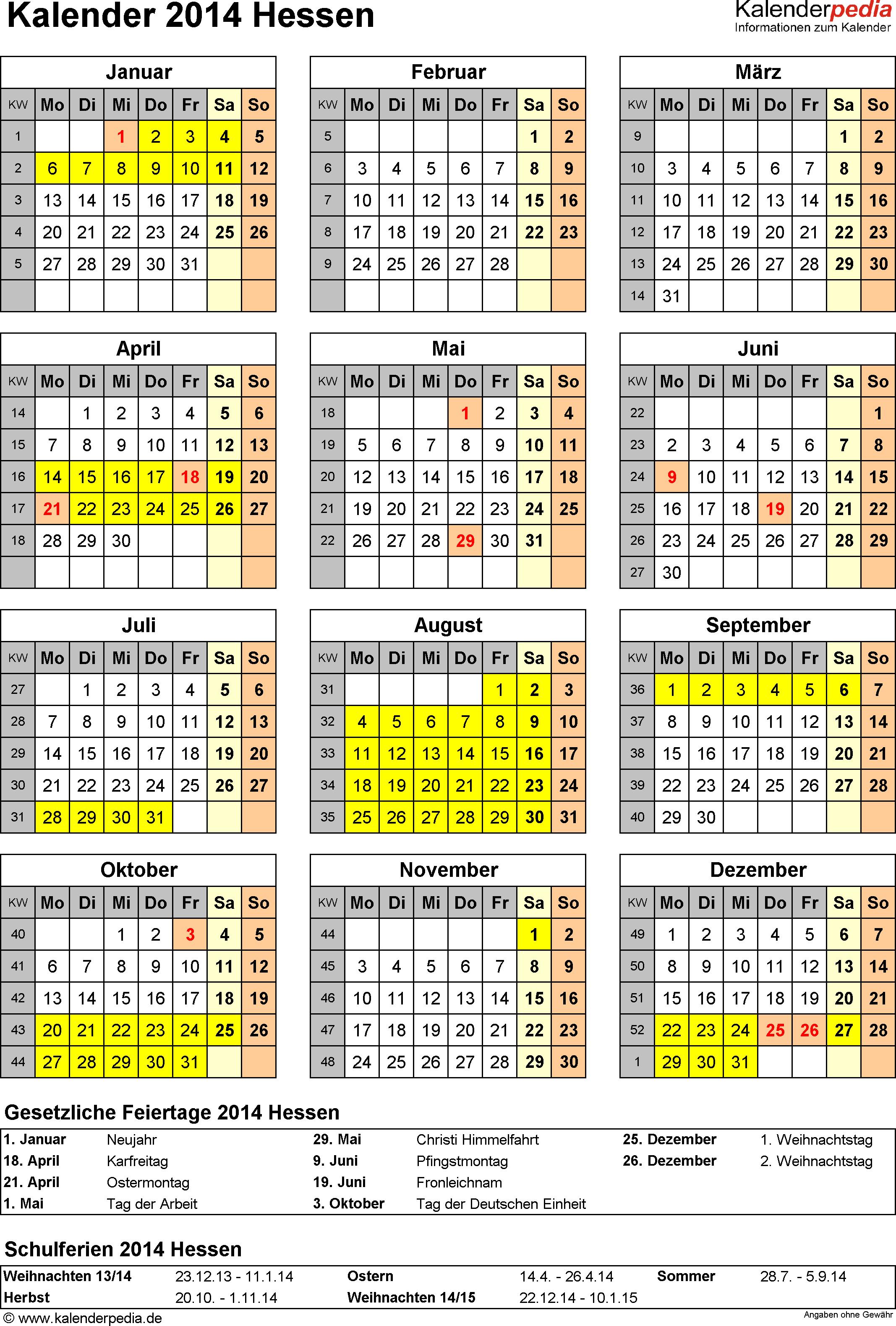 Vorlage 4: Kalender Hessen 2014 als PDF-Vorlage (Hochformat)